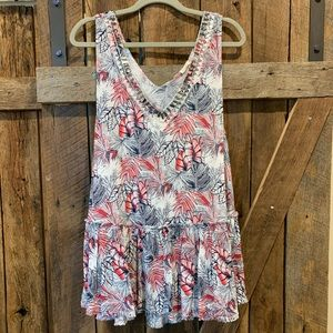 Boho tank top tunic with silver embellishments
